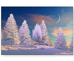 Paul Sinus Art Leinwandbilder | Bilder Leinwand 120x80cm märchenhafte Winterlandschaft