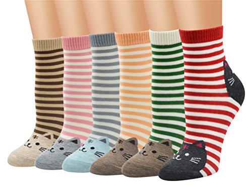 5-6 Pares Calcetines de Algodón para Mujeres Colores Mezclados Animales de Dibujos Gato Patrón Calcetines Calcetines Calientes de Divertidos Ocasionales Invierno Grueso de la EU 35-39 (6 pares-6109)