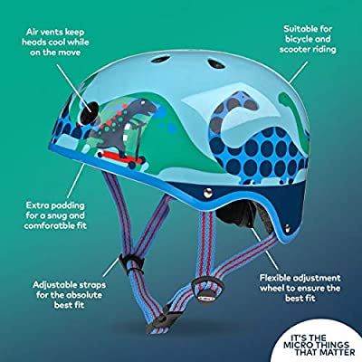 Micro Safety Helmet Matt Scootersaurus For Boys And Girls Cycling, Scooter, Bike Small 48-52Cm by Micro