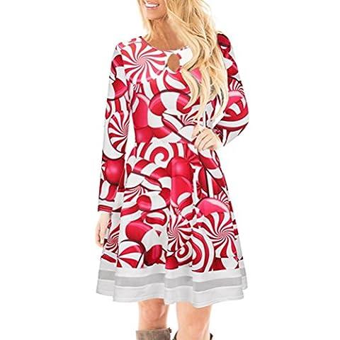 FORH Winter Damen Weihnachten Stil Santa Elch Gedruckt Lange Ärmel Spitze Kleid Niedlich Festlicher Spaß muster Swing Kleider (XL, Rot (Krücke))