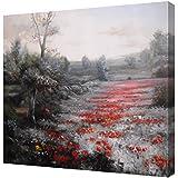 Cuadro moderno en lienzo paisaje con flores rojas -Pintura actual, medidas grandes 92x73 cm pintada a mano con pinturas al oleo - Arte para decoración