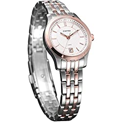 Comtex Women's Quartz Watch with Two Tone Stainless Steel Bracelet Rose Gold Case Luminous Wrist Watch