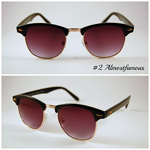 Pretty Smart Glasses Schwarz Classic Retro 1980's Vintage Schwarz/Schildpatt Gold Rand Clubmaster Sonnenbrille