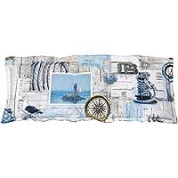 Körnerkissen Wärmekissen Dinkelkissen Maritim 50x20 weiß/beige/blau 100% Baumwolle 200g/qm mit Schutzengel Schlüsselanhänger