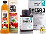 WOW Life Science Organic Apple Cider Vinegar-with strand of mother - not from concentrate – 750 ml & WOW O