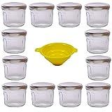 Viva Haushaltswaren G1300240/12T/silber/X - Lote de 12 tarros de mermelada (240 ml tapa plateada aspecto aristado embudo amarillo)