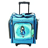 Wheelable Craft Tote, Suitcase by Santoro Gorjuss, Hush Little Bunny Canvas Bag, Blue, Ideal for Craft Storage and Travel  49.1 x 37.4 x 28.3 cm