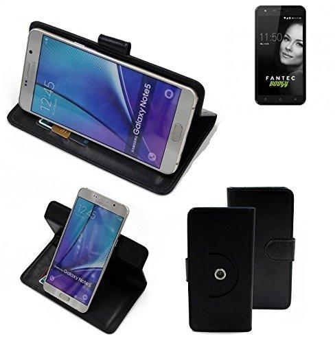 K-S-Trade® Case Schutz Hülle Für -FANTEC Boogy- Handyhülle Flipcase Smartphone Cover Handy Schutz Tasche Bookstyle Walletcase Schwarz (1x)