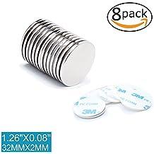 8 piezas imanes autoadhesivos de neodimio N50 disco 30x2 mm | Imanes fuertes adhesivos con cinta adhesiva de marca 3M | Imanes autoadhesivos N50 con película adhesiva, fuerza adhesiva extra