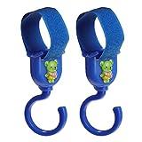 Baoblaze 2 Stück Baby Hängen Kinderwagen Haken Clips Buggy Kinderwagenbefestigung Kleiderbügel Kunststoff - Blau