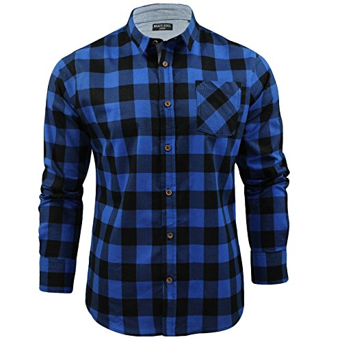 Mens Shirt by Brave Soul Brushed Flannel Check Long Sleeved (Blue/ Black) XL