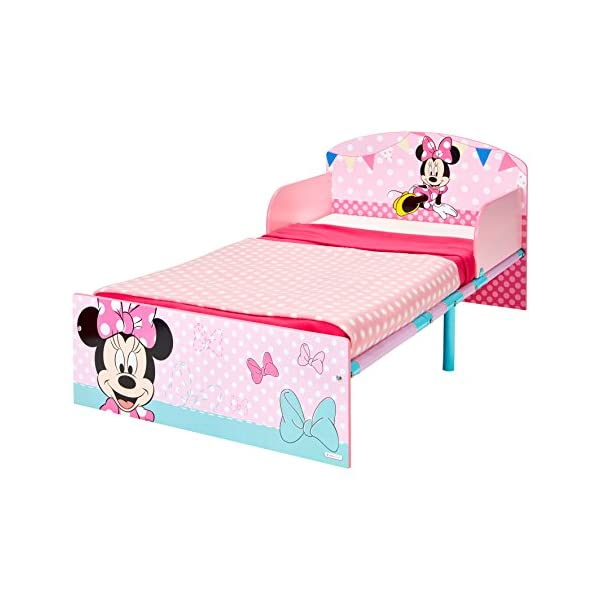 Disney Minnie Mouse Kids Toddler Bed by HelloHome  Sleep sweetly with this Minnie Mouse Toddler Bed Perfect size for toddlers, low to the ground with protective and sturdy side guards to keep your little one safe and snug Fits a standard cot bed mattress size 140cm x 70cm, mattress not included. Part of the Minnie Mouse bedroom furniture range from Hello Home 4