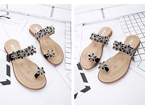 Onfly Da donna Il giro Peep Clip Toe Fiore Strass Boemia Sandali Infradito Tanga Ballerine Scarpe da spiaggia Grande formato 35-41 Black