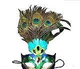 YLLY Creative Künstliche Pfauenfeder Maske für Halloween Cosplay Venezianische Maske Masquerade Party