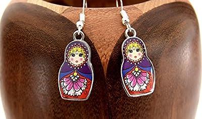 Boucles d'oreilles Matriochka violet , clips matriochka violet