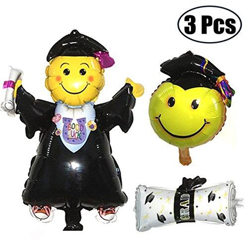 Mcree 3er Pack 40,6cm Graduation Folie Ballons Doctor Boy Diplom Smiley, Form Luftballons für Abschlussfeier Party Decor (Diplom-folie)