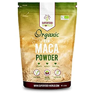 Organic Peruvian Raw Maca Powder | Nature's Perfect Superfood for Energy & Stamina | Great Source of Amino Acids, B Vitamins & Iron | Ideal for Smoothies, Breakfast & Desserts 300g