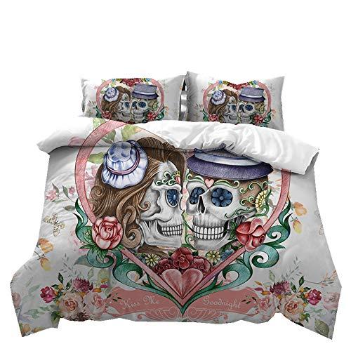 Stillshine Ropa de Cama Halloween 3D cráneo Pareja Funda de edredón y Funda de Almohada de Ropa de Cama 100% poliéster (Sweetheart Skull, 220 x 240 cm Adecuado para - Cama 150 cm)