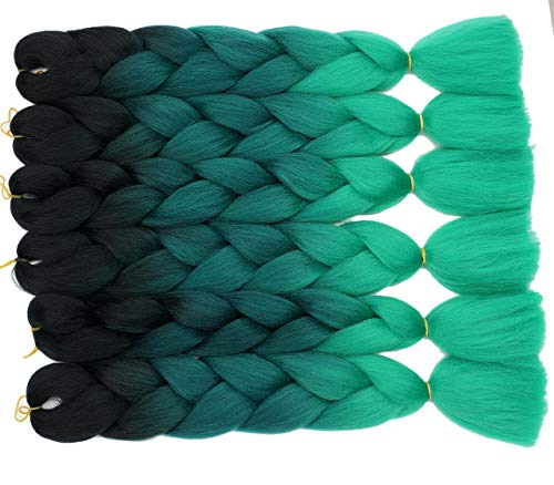 Onetree Haarverlängerung, 6Pcs/Lot, Black/Dark Green/Green