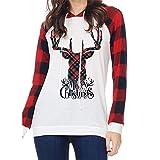 Christmas Pullover Bluse Tops Damen Weihnachten Blumen Drucken Langarm Sweatshirt Cute Hemd Mantel Weihnachtspullover Rentier Fashion Pulli Warme Elegante T-Shirt von Innerternet