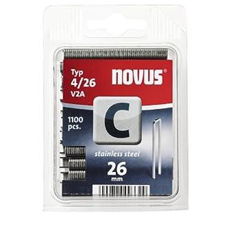 Novus 042-0460 Blister de 1100 Agrafes dos étroit 4/26 mm Inox Rouge