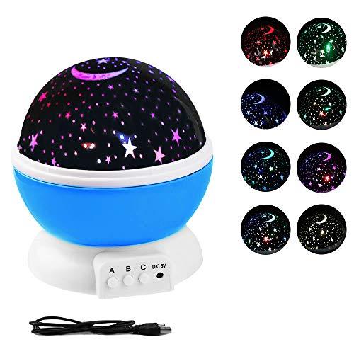 Lampara Proyector Infantil, Proyector Lámpara De Dormir, con de para niños rotación de 8 modos Regalo de los niños para Navidad Cumpleaños de Halloween Iluminación Proyector Estrellas(azul) (Azul)