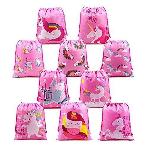 gebsel Kindergeburtstag Gastgeschenke Tasche für Mädchen 10 Stück, Pink Unicorn Party Geschenktüten, Geburtstagsfeier Give Aways Partytüten ()