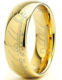 """Ultimate Metals Co. 7MM Bague Tungstene """"Seigneur des Anneaux """"LORD OF THE RINGS"""" Plaque D' or Taille"""