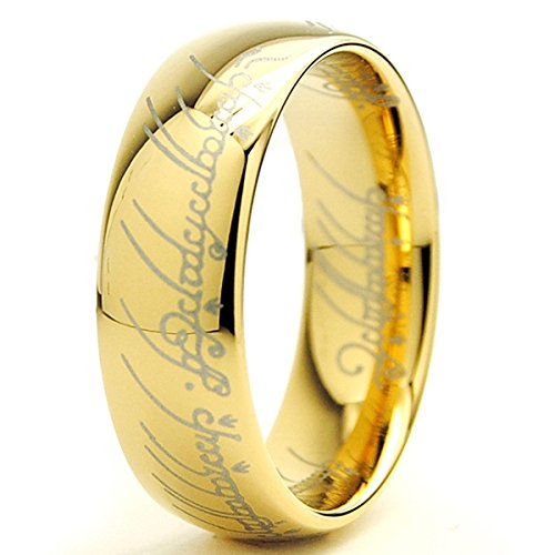 Ultimate Metals Co. 7MM Bague Tungstene 'Seigneur des Anneaux 'LORD OF THE RINGS' Plaque D' or Taill
