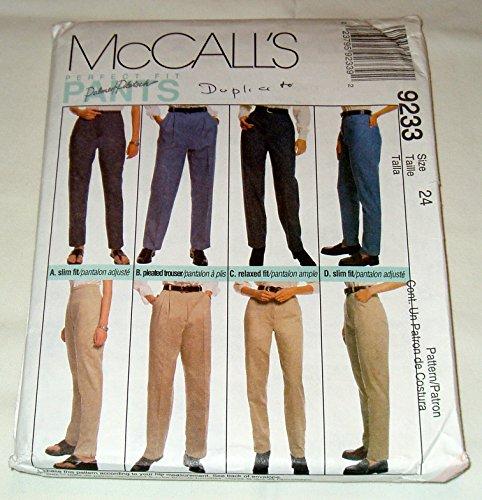 McCall 's 9233Schnittmuster ~ Misses 'perfekt Fit Hose, Hosen und Jeans, Größe 24 Trim Jeans Hose