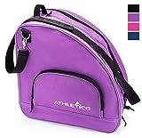 Athletico Schlittschuhtasche - Premium Tasche zum Tragen von Schlittschuhen, Rollschuhen, Inlineskates für Kinder und Erwachsene (lila mit schwarzem Rand)