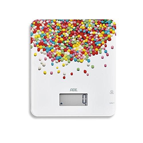 ADE Digitale Küchenwaage KE 1720 Candy. Elektronische Waage mit buntem Aufdruck für die süße Küche. Präzise wiegen bis 5kg, auch für Flüssigkeiten. Zuwiegefunktion Tara, LCD-Display. Inkl. Batterie