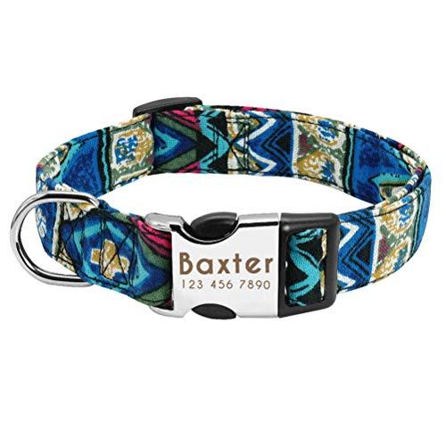 Feidaeu Hundehalsband personalisiert Nylon weich und bequem tragen Halsbänder für mittelgroße Hunde Mops Französisch Bulldog