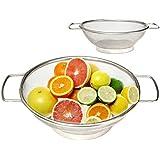 Iktu Stainless Steel Fine Mesh Rice Strainer Bowl Rinse Fruit Drainer Vegetable Sieve Colander Sifter (8 IN)
