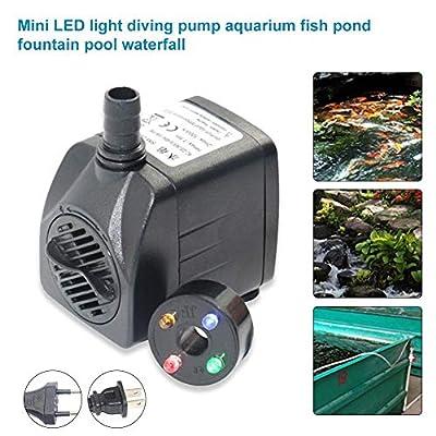 bulrusely Aquarium Fish Tank Pompe À Eau Submersible pour Aquarium avec des Lumières LED Étanches De Couleur (1000L / H, 15W) Cordon d'alimentation De 4,9 Pieds De Hauteur, 4,9 Pieds (1,5 M)