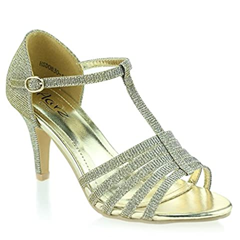 Women Ladies Open Toe T Bar Slim Mid Heel Evening Party Wedding Prom Pewter Sandals Shoes Size 5