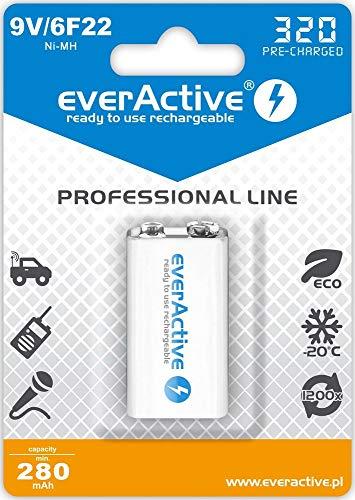 everActive Akku 9V 320 mAh, NI-MH, Block, wiederaufladbar, vorgeladen, höchster Leistung, Professional Line 6F22 HR22 8.4V, 1 Stück - 1 Blisterkarte