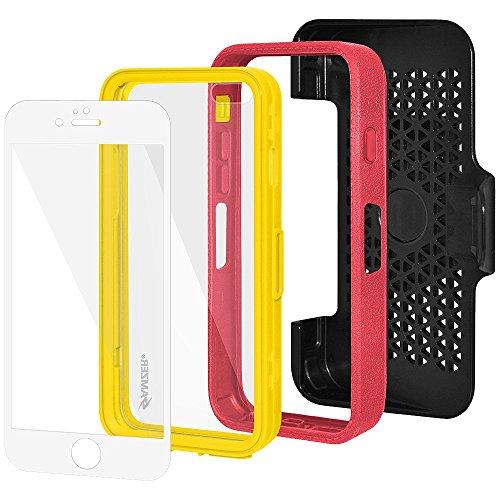 Amzer Crusta edge2edge Rugged Shell Case Cover mit Tempered Glas und Holster für iPhone 6Plus silber/gold _ P Red, Yellow
