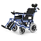 Elektrischer Rollstuhl Mit Kopfstütze, Intelligente Automatische Elektrorollstuhl ,Faltbar Tragbare ,Sitzbreite 45 Cm, Frei-Reiten, Rollstuhl(Kann 150Kg Unterstützen),Einstellbarer Rückenlehnenwinkel