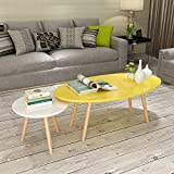 KFDQ Nordischer Mit Holz Lackierter Teetisch, Kleiner Ovaler Couchtisch, Schlichter Moderner Runder Beistelltisch Aus Holz,Gelb und weiß,Bildanmerkung