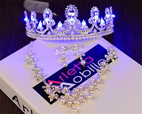 ELEGENCE-Z Dreiteilige Leuchtende Krone, Europäischen und Amerikanischen Barocken Kristall Hochzeit Zubehör, Parade, Leistung (35 * 5 * 15 cm) (Parade-zubehör)