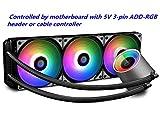 DEEPCOOL Castle 360 RGB-Wasserkühler mit adressierbarem RGB-Kühler und Lüftern, Kabel und Motherboard (mit 5-V-3-Pin-ADD-RGB-Sockel) Unterstützte Steuerung, TR4- und AM4-kompatibel, 3 Jahre Garantie