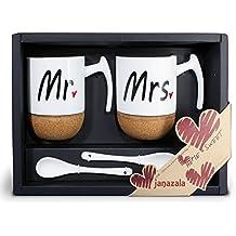 Janazala Mr La Mrs Café Tazas Cerámica, Regalos Original Para Aniversario Parejas e Padres, Mamá Y Papá, Regalo para Mujer, 280ml, Conjunto de 2 En Una Caja De Regalo