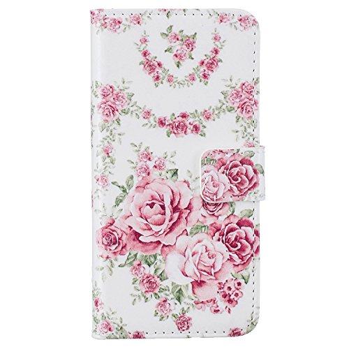 """MOONCASE iPhone 7 Plus Coque, [Live Your Dream] Modèle Housse Pochette en Cuir Etui à rabat portefeuille [Porte-cartes] TPU Case avec Béquille pour Apple iPhone 7 Plus 5.5"""" Rosa Rose"""