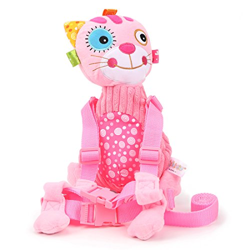 JH Baby Anti-lost Animal Package Toddler Cartoon Flower cat Plush Backpack Baby Leash shoulder Bag With Safety Rein and Harness for Kids