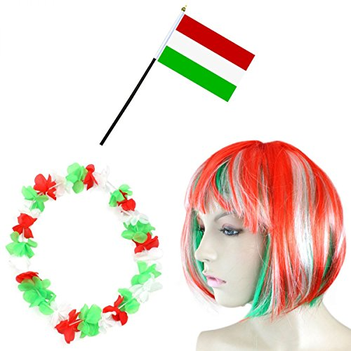 Sonia Originelli Fan-Paket-4 WM Fußball Kurzhaar Perücke Hawaiikette Flagge Party Farbe - Ungarn Kostüm