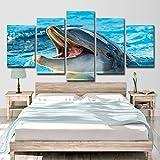 TIANT 5 TLG Bilder Vlies Leinwandbild Delphin Landschaft Kunstdruck Modern Wandbilder XXL Wanddekoration Design Wand Bild,a,20 * 30 * 2+20 * 40 * 2+20 * 50 * 1