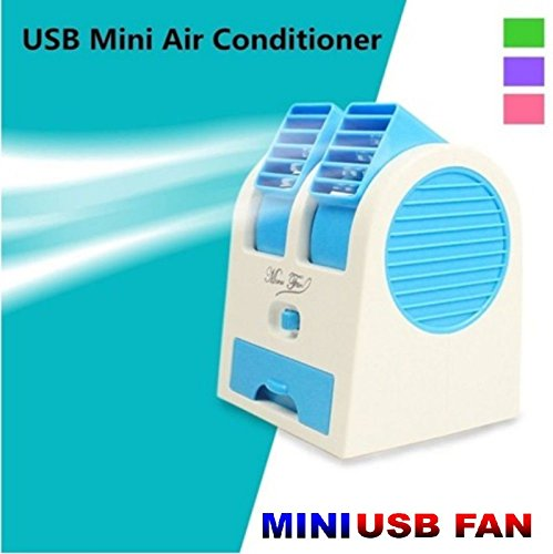 Mini USB Small Fan Cooling Portable Desktop Dual Bladeless Air Conditioner.
