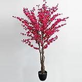 Homescapes Cerisier Artificiel Prunus en Fleur Fuchsia H 153 cm