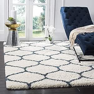 Arsh Fabs Modern Design Polyester Shaggy Bedside Runner, Soft Rug for Bedroom Living Room Kitchen (Ivory, 5x8 FET)